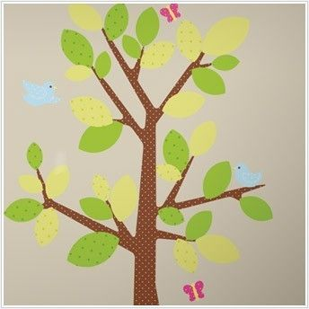 Polka Dots Green Tree Wall Decals   Baby Nursery Dotted Mural Stickers