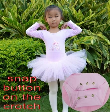 Snap Button Crotch Leotard Ballet Tutu Dance Costume Dress 3 8Y