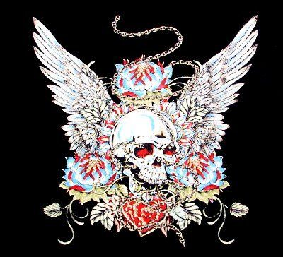 SKULL HEART WINGS CHAIN TATTOO ART T SHIRT WS63