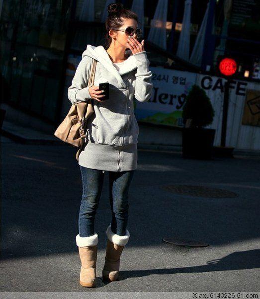 new lady Warm Zip Hoodie Jacket Coat Outerwear Gray w/ faux fur inside