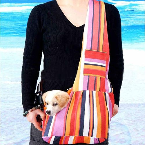 Colorful Strip Sling Pet Dog Cat Shoulder Bag Carriers