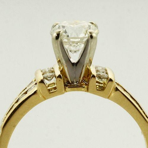 Vintage 18K Yellow White Gold Diamond Engagement Ring