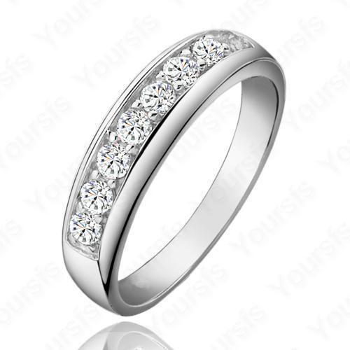 White Gold Plated Swarovski Crystal Gemstone Ring Sz8
