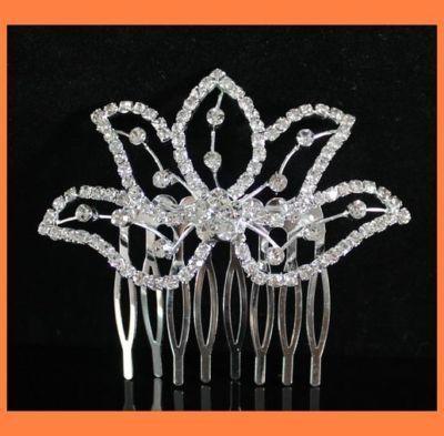 RHINESTONE CRYSTAL HAIR COMB BRIDAL WEDDING TIARA JEWELRY C0121