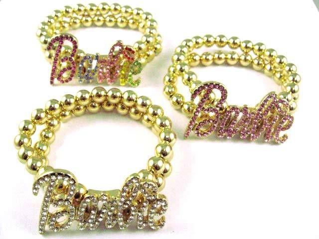 NICKI MINAJ BARBIE Bracelet W/ Ball Chain Gold Stretch