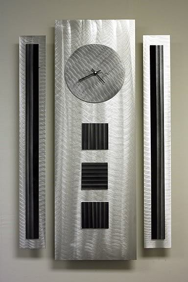 Modern Abstract Metal Art Decor Office Sculpture Silver/Black