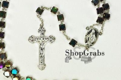 New Rosary Purple Amethyst Gold Virgen Mary Diamond Cut Cube Rosario